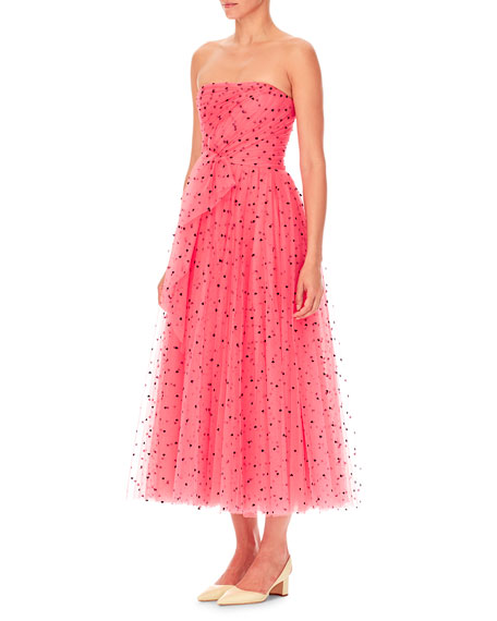 Strapless Heart-Print Tulle A-Line Cocktail Dress w/ Twist Draping