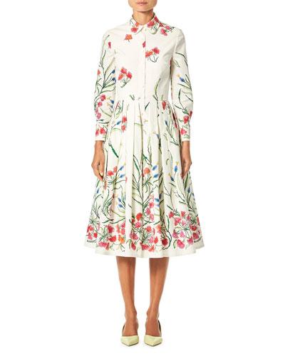 Button-Front Long-Sleeve Floral-Print A-Line Shirtdress