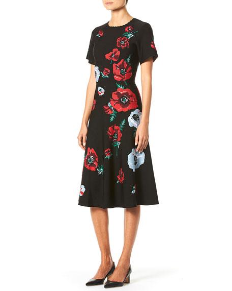 Carolina Herrera Short-Sleeve Poppy-Print Knit Dress