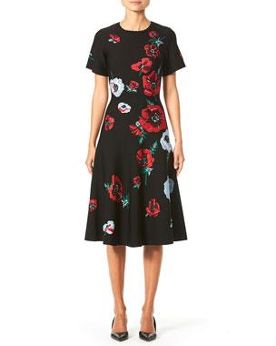 e103d59458 Carolina Herrera Short-Sleeve Poppy-Print Knit Dress