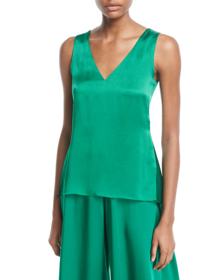 Rosetta Getty V-Neck Sleeveless Flare-Back Crepe Back Satin Tank