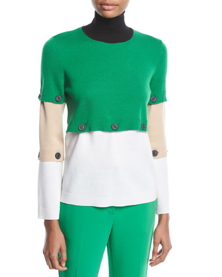 Rosetta Getty Button-Off Colorblocked Turtleneck Wool Sweater