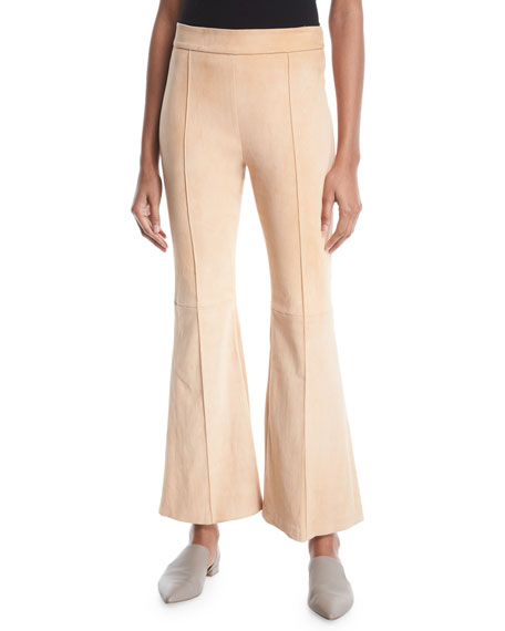 Rosetta Getty Pintuck Flared-Leg Stretch-Suede Pants