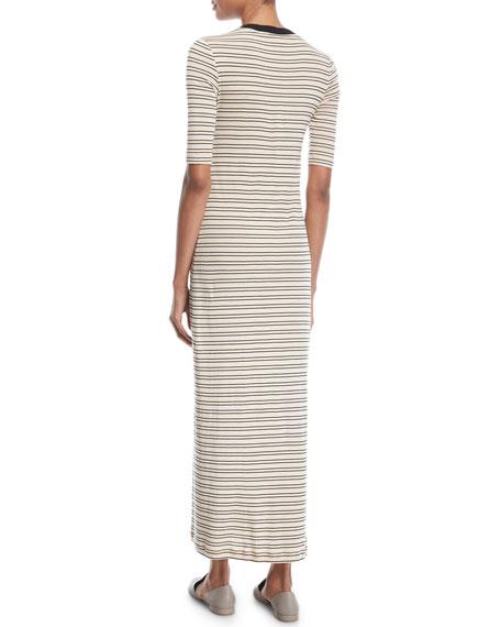 Rosetta Getty Crewneck Short-Sleeve Striped Maxi T-Shirt Dress