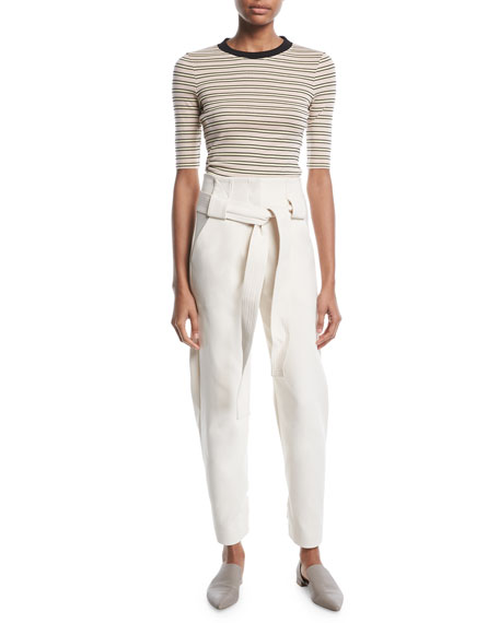 Rosetta Getty Belted High-Waist Stretch-Cotton Cropped Pants
