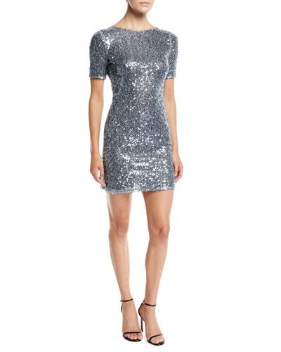 Short-Sleeve Sequined Mini Dress