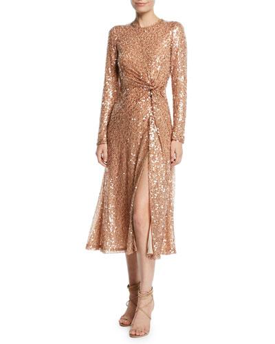 Pinwheel Sequined Twist-Front Dress