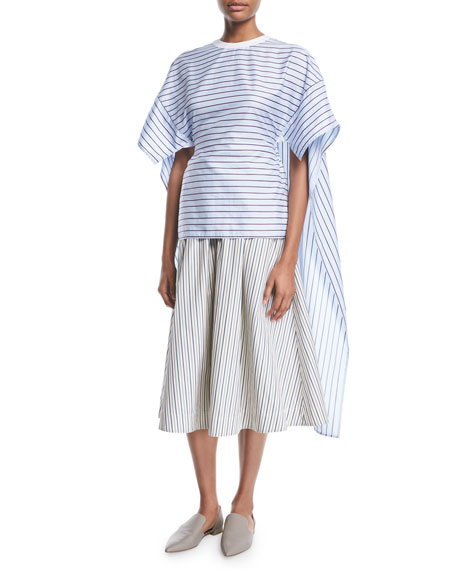 Rosetta Getty Crewneck Short-Sleeve Striped Shirting Cape-Back Top