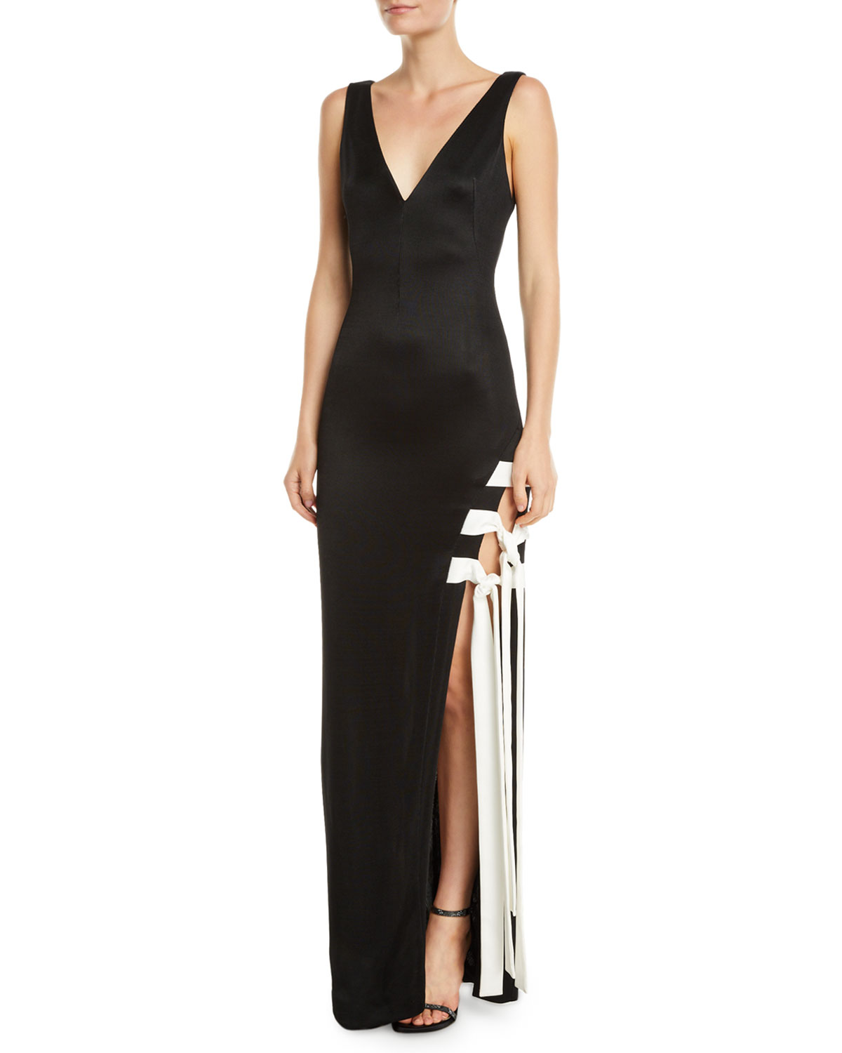 Galvan Sleeveless Lace-Up High-Slit Jersey Gown | Neiman Marcus