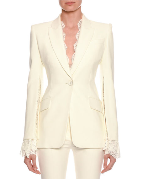 Alexander McQueen Lace-Trim Single-Breasted Blazer