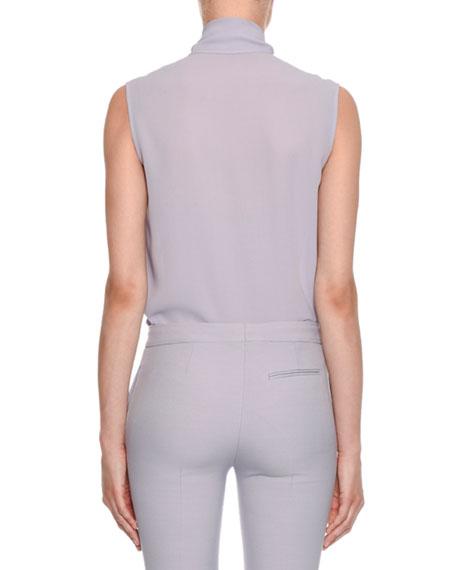 Alexander McQueen Sleeveless Bow-Neck Button-Front Blouse