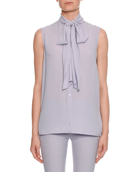 Alexander McQueen Sleeveless Bow-Neck Button-Front Blouse