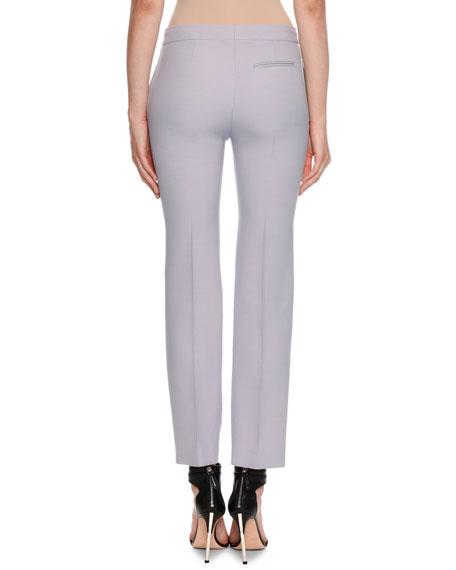 Alexander McQueen Wool-Silk Flat-Front Cigarette Pants
