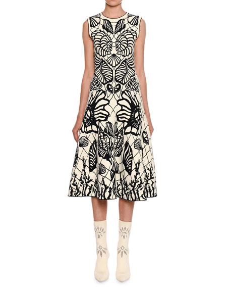 Alexander McQueen Sleeveless Shell-Jacquard Midi Dress