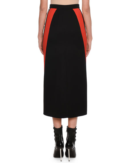 Alexander McQueen Racer-Striped Wool Midi Pencil Skirt