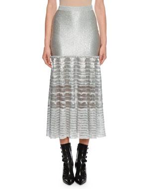 e11f7a4c09 Alexander McQueen Drop-Waist Silvertone Ribbed Midi Skirt