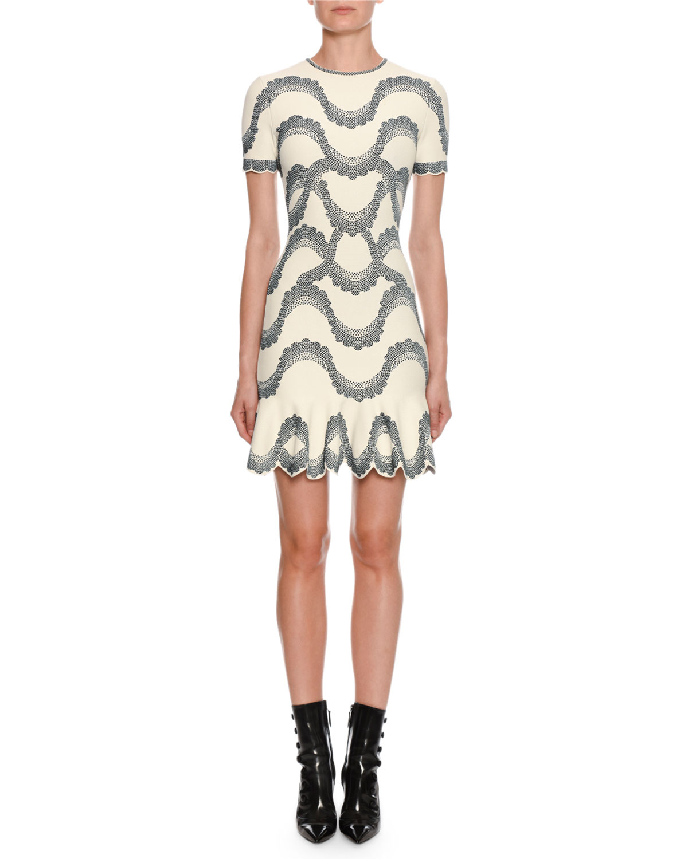a1849bf7aed Alexander McQueen Short-Sleeve Jewel-Neck Victorian-Bead Jacquard Mini Dress