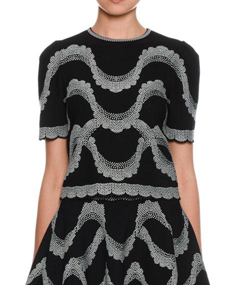 Alexander McQueen Short-Sleeve Crewneck Victorian-Beads Jacquard Top