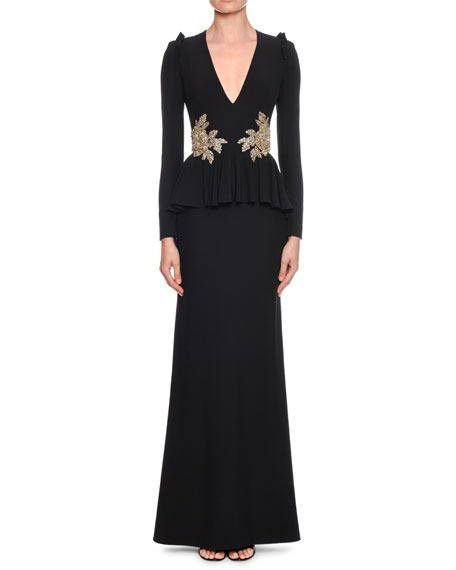 Alexander McQueen V-Neck Long-Sleeve Peplum-Waist Trumpet Evening Gown w/ Floral-Embellishment