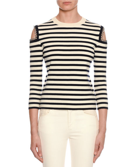 Alexander McQueen Striped-Knit Chain-Trim Cold-Shoulder Sweater