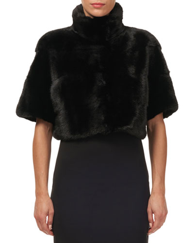 Horizontal Mink-Fur Bolero Jacket