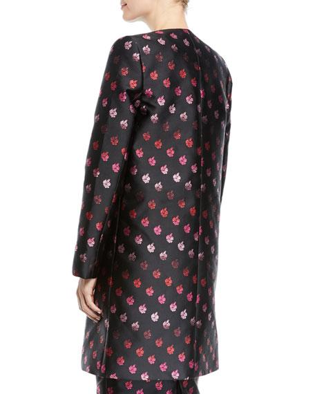 Zac Posen Rose-Foiled Collar-Less Coat