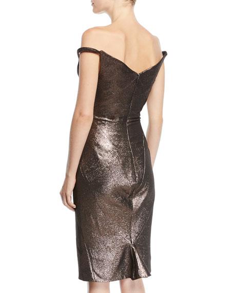 Zac Posen Fitted Metallic Cocktail Sheath Dress