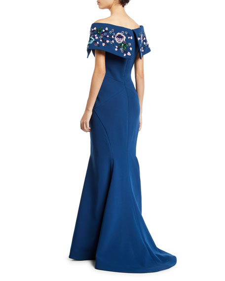 Zac Posen Off-The-Shoulder Beaded Portrait Collar Gown