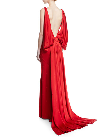 V-Neck Draped-Back Gown