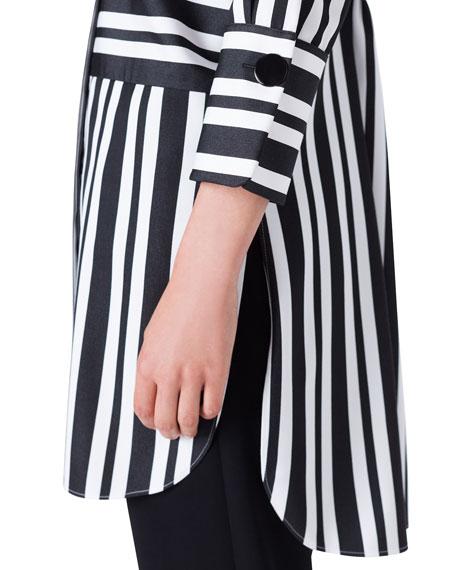 Akris punto Asymmetric-Striped Kent-Collar Button-Front Tunic
