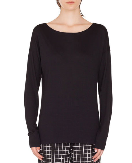 Akris punto Oversize Viscose/Silk Boat-Neck Top