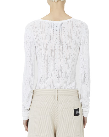 Marc Jacobs Pointelle Knit V-Neck Sweater