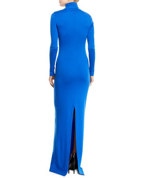 CALVIN KLEIN 205W39NYC Turtleneck Long-Sleeve Body-Con Wool-Jersey Evening Gown