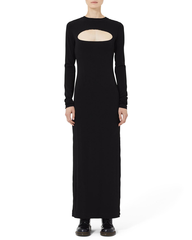 f0bab6060e8 Marc Jacobs Long-Sleeve Jersey Maxi Dress with Cutout Yoke