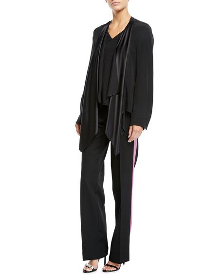 CALVIN KLEIN 205W39NYC Silks SIDE-STRIPE STRAIGHT-LEG WOOL/SILK PANTS