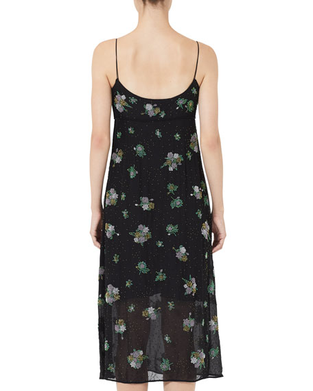 Image 2 of 3: Grunge Floral Embroidered Empire Slip Dress