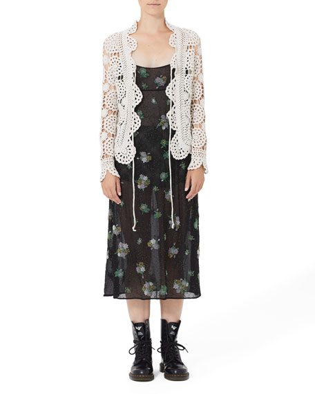 Image 3 of 3: Grunge Floral Embroidered Empire Slip Dress