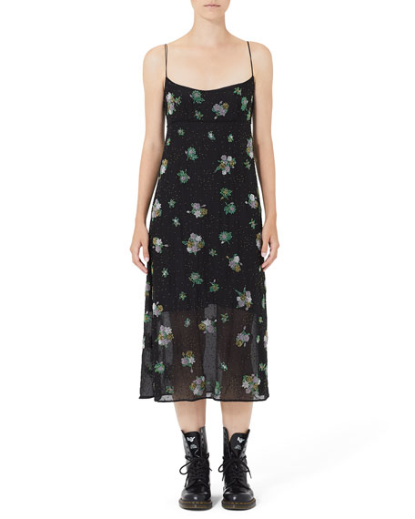 Image 1 of 3: Grunge Floral Embroidered Empire Slip Dress
