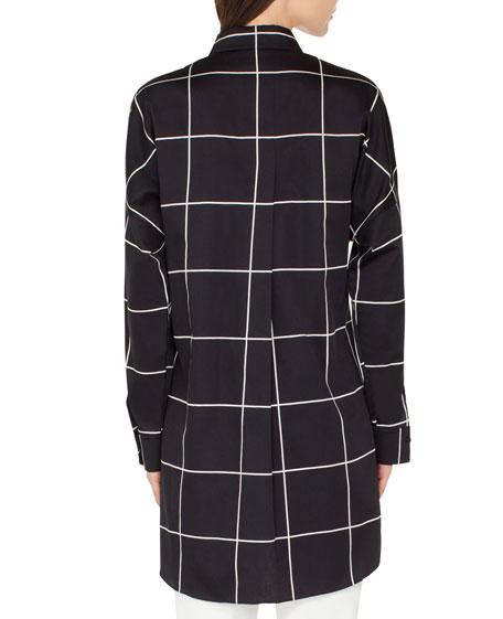 Akris punto Checkered Button-Front Tunic