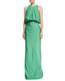 CALVIN KLEIN 205W39NYC Sleeveless Bubble-Top A-Line Polka-Dot Evening Gown