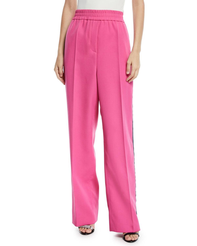 eba7455b4f3a CALVIN KLEIN 205W39NYCElastic-Waist Wide-Leg Wool Track Pants w  Side Stripe