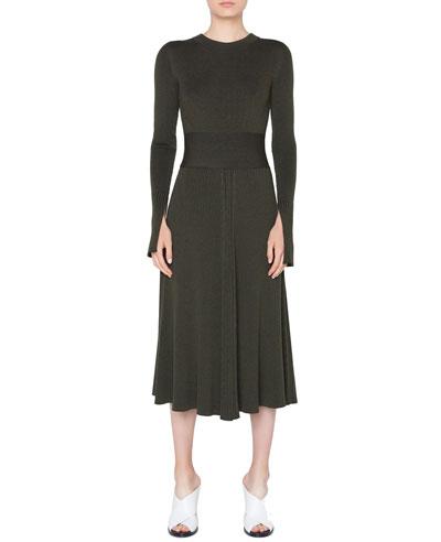 Long-Sleeve Ribbed Merino Midi Dress