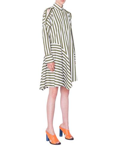 Striped Cold-Shoulder Asymmetric Shirtdress