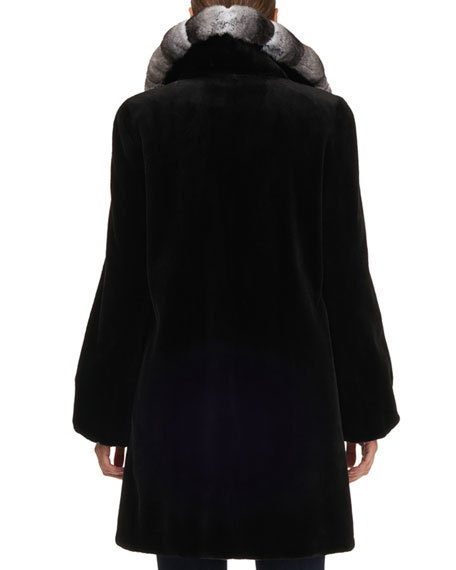Gorski Chinchilla Notched-Collar Mink Fur Stroller Coat