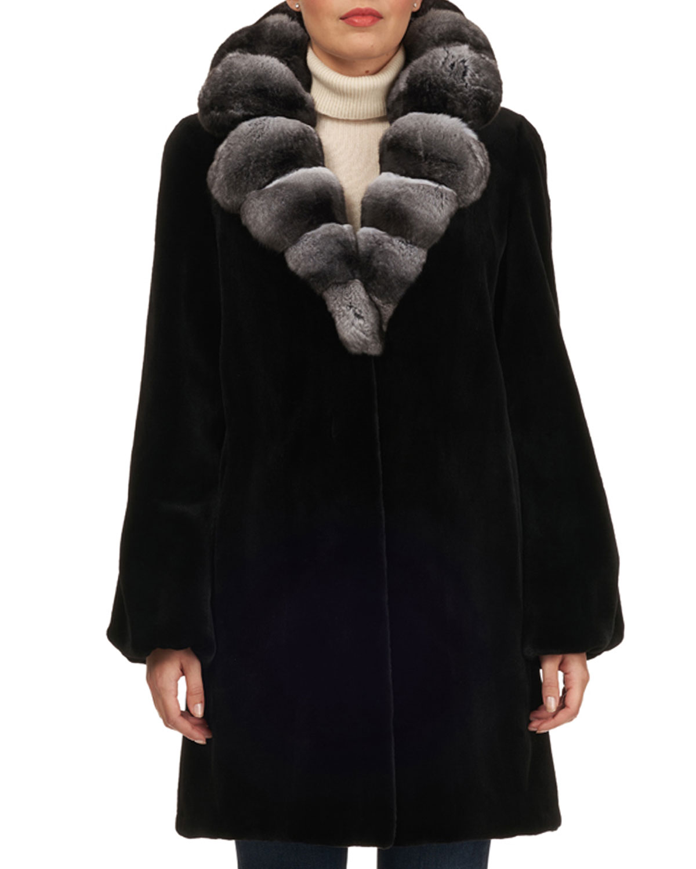 Black Coyote Fur Coat Neiman Marcus >> Chinchilla Notched Collar Mink Fur Stroller Coat