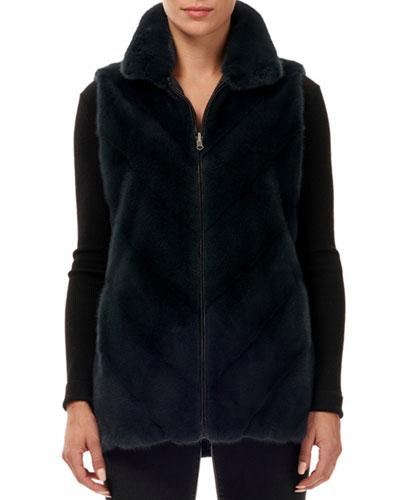 Reversible Chevron Mink-Fur Taffeta Vest w/ Stand Collar
