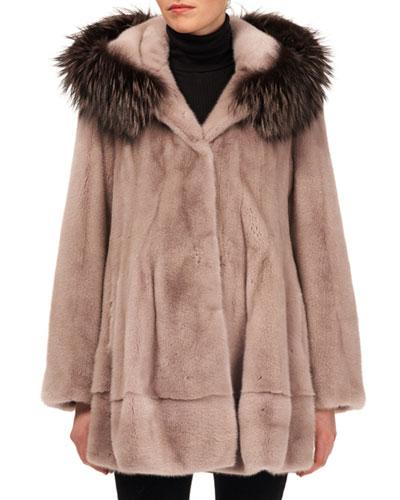 Mink Fur Jacket w/ Fox-Fur Hood