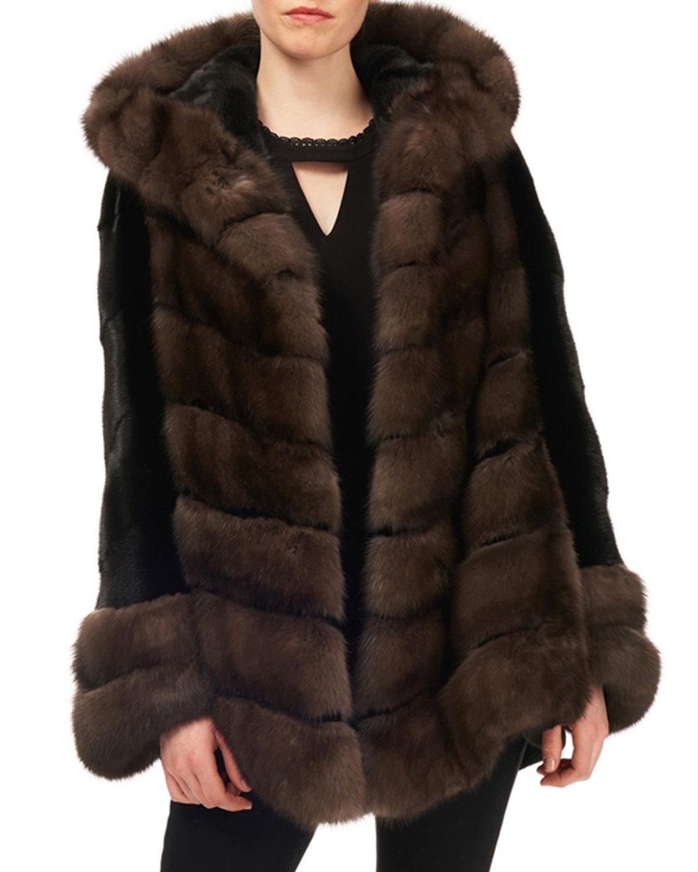 afe30d31cebf Gorski Sable   Mink-Fur Chevron Jacket w  Belt