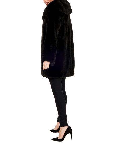 Gorski Hooded Mink-Fur Stroller Coat