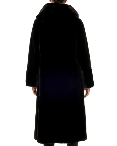 Gorski Reversible Mink-Fur Taffeta Mid-Length Coat